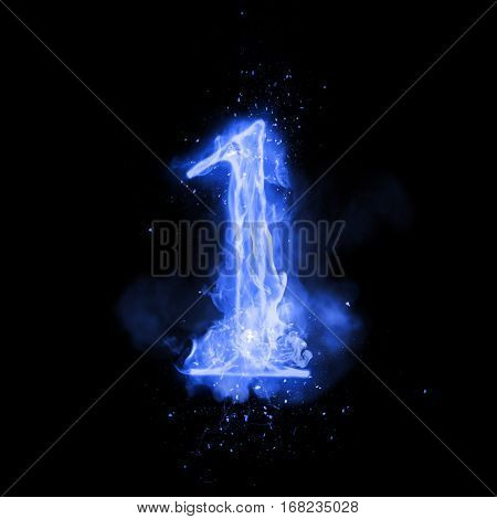 Fire number 1 one of burning blue flame. Flaming burn font or bonfire alphabet text with sizzling smoke and fiery or blazing shining heat effect. Incandescent cold fire glow on black background poster