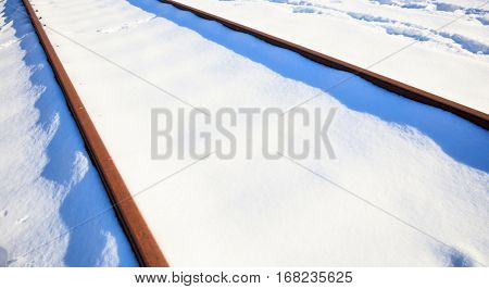 Covered with snow railways background