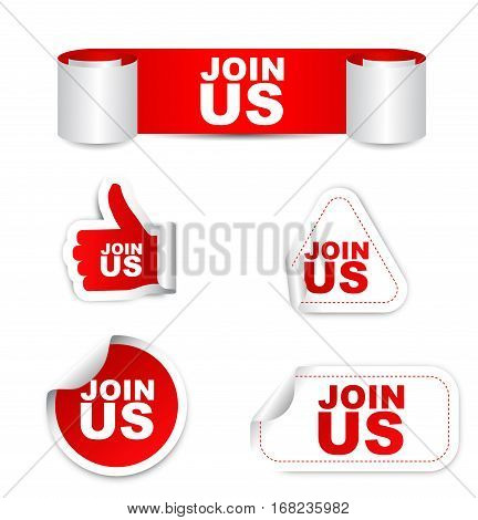 join us sticker join us red sticker join us red vector sticker join us set stickers join us design join us join us eps10 sign join us banner join us