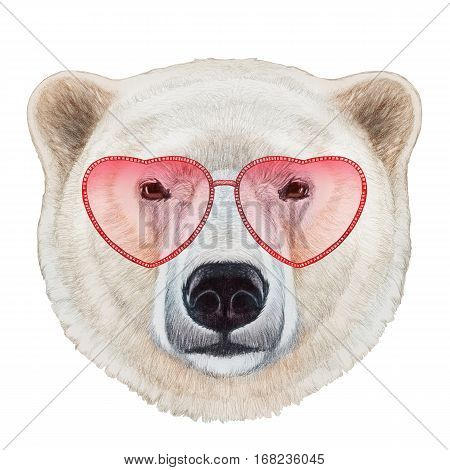 polar bear in love! portrait of polar bear with heart shaped sunglasses. hand-drawn illustration.