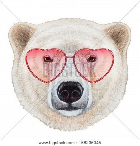 polar bear in love! portrait of polar bear with heart shaped sunglasses. hand-drawn illustration.