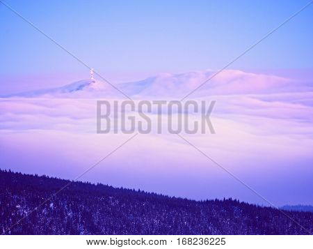 Winter Mountain Peak With Observatory Above Mist