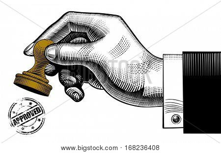 Hand holding a rubber stamp and round approved seal. Vintage stylized drawing