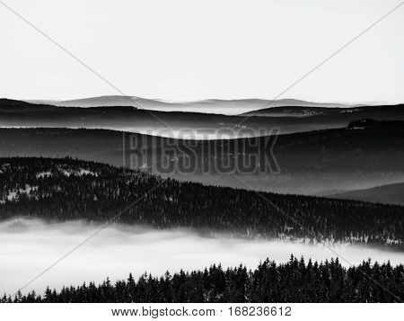 Chill Inverse Weather In Winter Mountains, Heavy Mist.