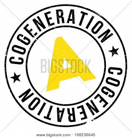 Cogeneration stamp. Grunge design with dust scratches. Effects can be easily removed for a clean, crisp look. Color is easily changed.