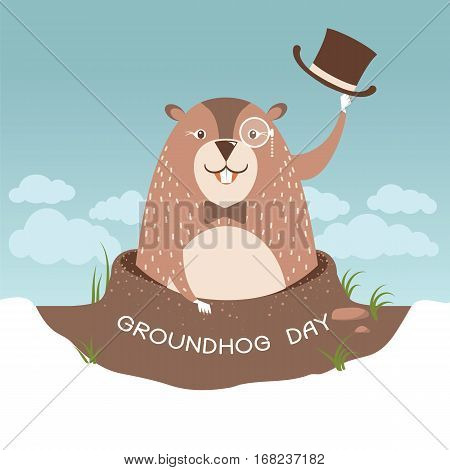 Groundhog Day Illustration With Happy Marmot In A Hat