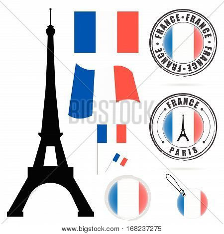 France Flag Set With Tour Eiffel Design Illustration In Colorful