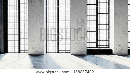 Floor-to-ceiling windows glowing with sunlight and concrete walls and floor in modern building, architecture or interior concept. 3d Rendering.