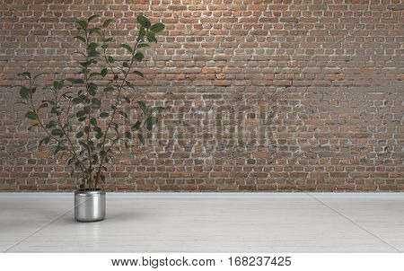 High indoor plant in metal pot standing on white wooden floor against red brick wall with copy space. 3d Rendering.