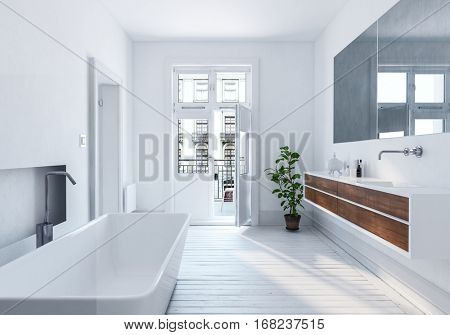 Modern spacious white urban bathroom interior with long mirror, wall mounted cabinets and bathtub with monochromatic white decor, 3d rendering