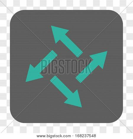 Centrifugal Arrows interface toolbar button. Vector icon style is a flat symbol on a rounded square button cyan and gray colors chess transparent background.