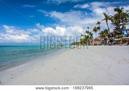 Boracay, Philippines - March 14, 2016: Famous White beach on Boracay Island, Philippines