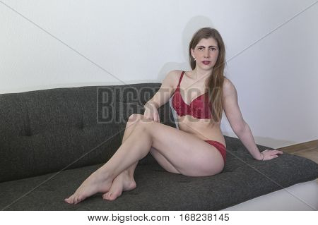 A pretty brunette young woman in lingerie