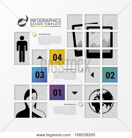 Infographic design with squares. Business template. Vector illustration