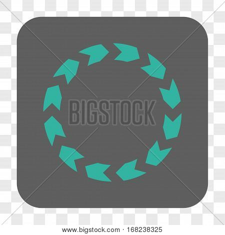 Circulation interface toolbar button. Vector icon style is a flat symbol inside a rounded square button cyan and gray colors chess transparent background.