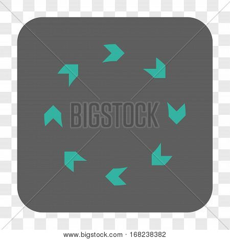 Circulation interface toolbar button. Vector icon style is a flat symbol in a rounded square button cyan and gray colors chess transparent background.