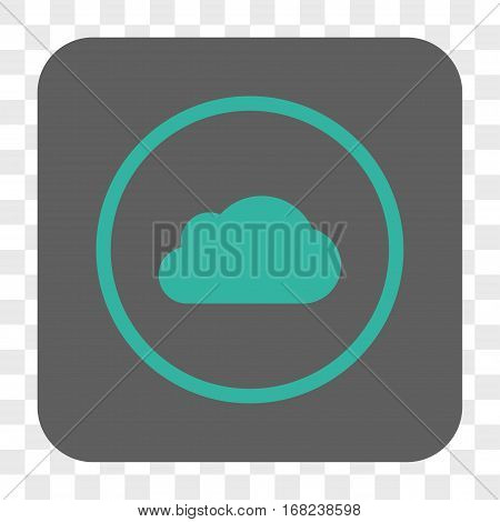 Cloud interface toolbar button. Vector icon style is a flat symbol in a rounded square button cyan and gray colors chess transparent background.