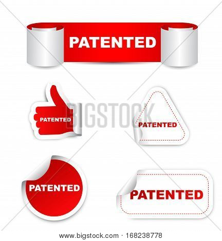 patented sticker patented red sticker patented red vector sticker patented set stickers patented patented eps10 design patented sign patented banner patented