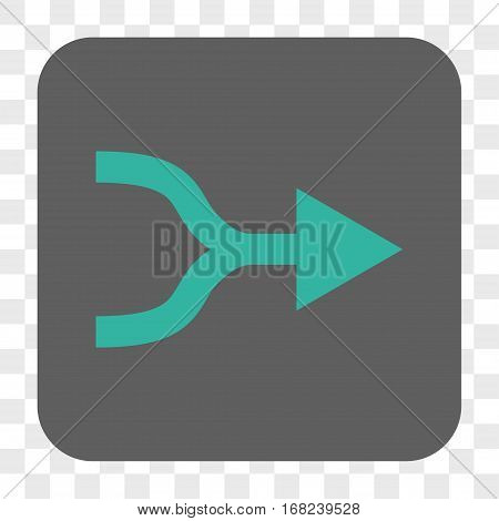 Combine Arrow Right interface toolbar button. Vector icon style is a flat symbol inside a rounded square button cyan and gray colors chess transparent background.