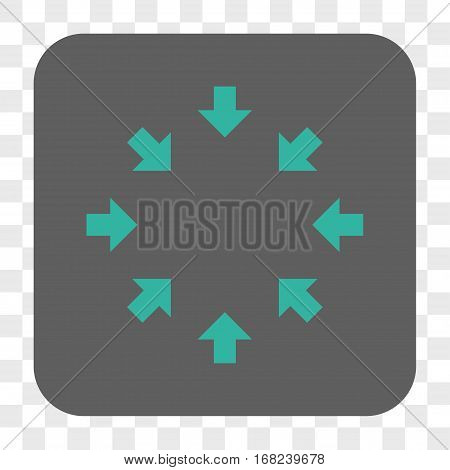 Compact Arrows interface toolbar button. Vector icon style is a flat symbol inside a rounded square button cyan and gray colors chess transparent background.