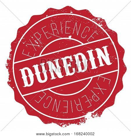 Dunedin stamp. Grunge design with dust scratches. Effects can be easily removed for a clean, crisp look. Color is easily changed.