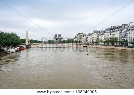 PARIS, FRANCE - June 4, 2016 : The worst floods in a century have hit Paris, with the Seine continue to rise at a peak of 6,5 meter. Paris, France