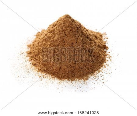 ceylon cinnamon powder isolated on white background