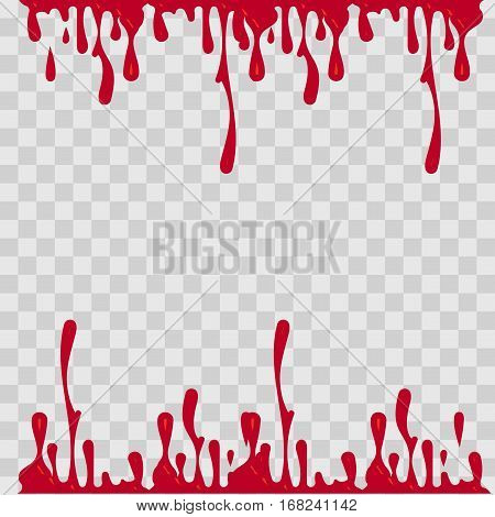 Paint drop abstract illustration. Red blood on checkered transparent background. Flat style