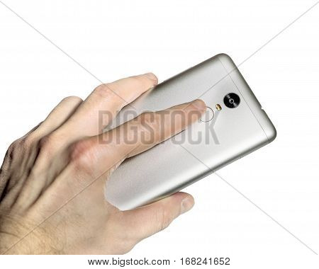 Finger touches the fingerprint scanner in the smartphone on white background