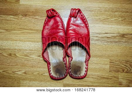 Arab Eastern red leather Slippers are on the floor
