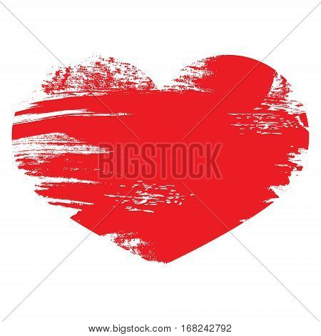 Red Heart. Isolated On White Background. Painted Brush Heart Sha