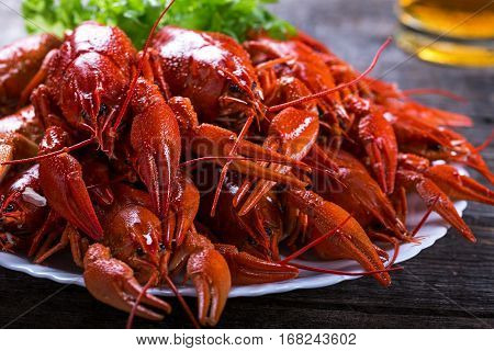 Plate Of Tasty Boiled Crayfish