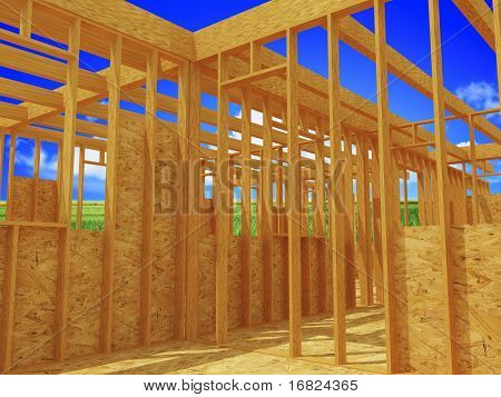 wood construction site 3d and nature background
