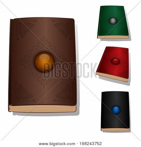 Vector book with ornament and jewelery stone. Vector book cover icon set design concept
