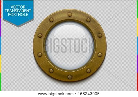 Illustration of a bronze or brass ship porthole with glass. Isolated on transparent background. Rivets mount design