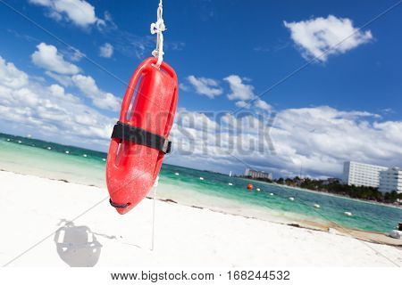 Red Plastic Buoy For A Lifeguard
