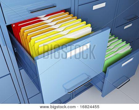 detalle del gabinete de archivo y carpeta colorido