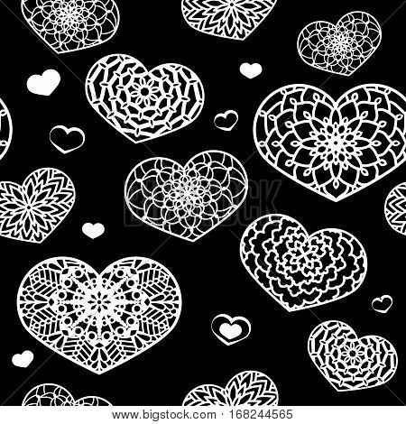 Seamless Pattern With Ornamental Hearts. Black And White. St. Va