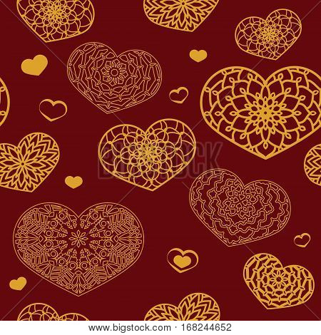 Seamless Colored Pattern With Ornamental Hearts In Red And Gold