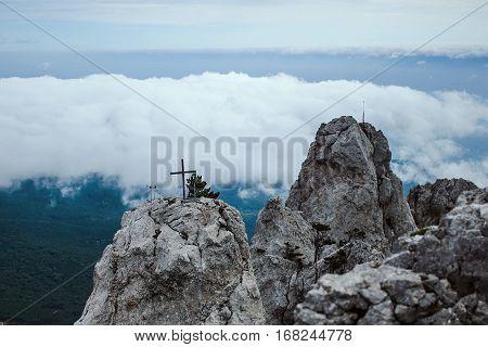 Mountain In The Clouds With A Crucifix Around Ai-petri In Crimea