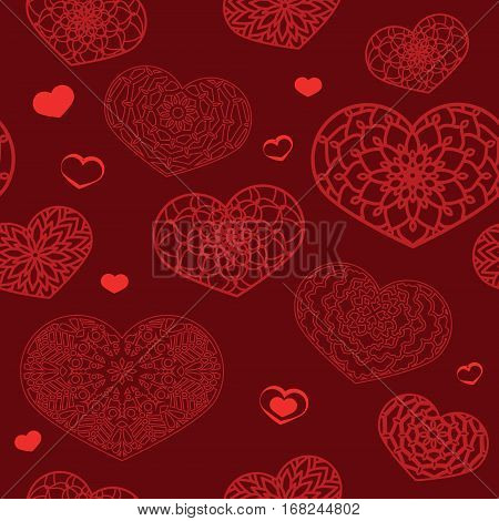 Seamless Colored Pattern With Ornamental Hearts In Red Colors. S