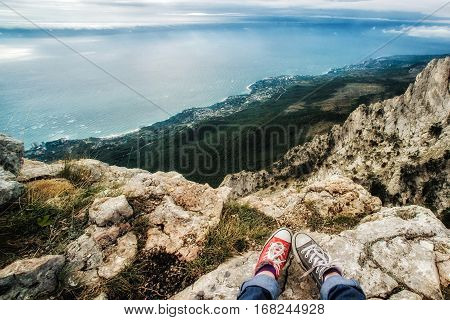 View of Yalta from Ai-Petri plateau, sky and sea