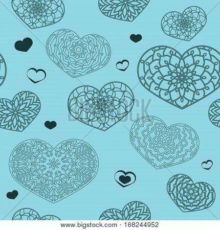 Seamless Colored Pattern With Ornamental Hearts In Blue Colors.
