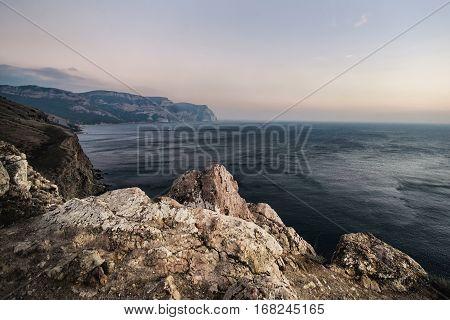 views of the sea in Crimea, sea sky rock