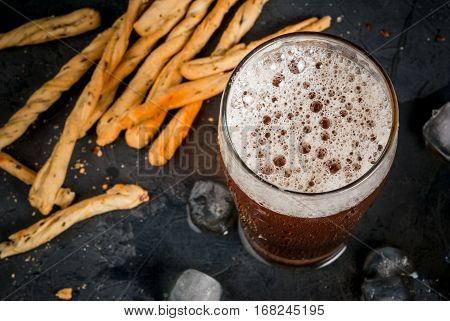 Glass Of Beer With Grissini