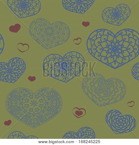 Seamless Colored Pattern With Ornamental Hearts. St. Valentine's