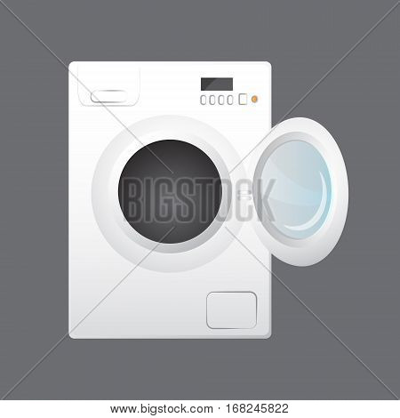 Washing machine with open door. isolated on gray background. cartoon style.
