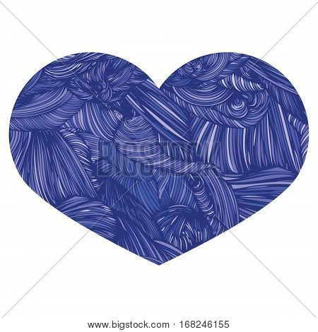 Vivid Ornamental Heart In Blue. Ink Drawing Heart With Wave Patt