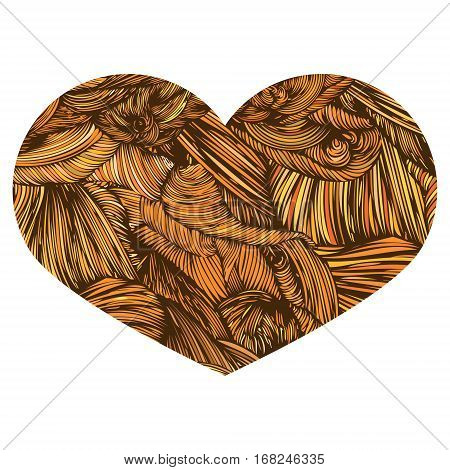 Vivid Ornamental Heart in orange. Ink drawing heart with wave pattern. Doodle Style hand drawn Vintage ornate design element for Valentine's Day or Wedding. Stock Vector. Colorful.