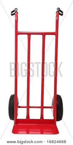 classic red handtruck isolated on white background